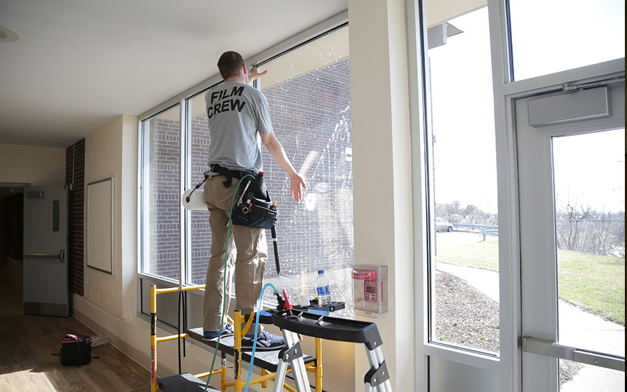 Commercial Security Film With Wet Glaze Attachment System